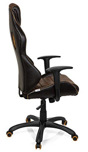 41UTgHpDUaL - hjh OFFICE 621880 RACER VINTAGE IV - Silla Gaming y oficina,  piel sintética marrón