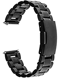TRUMiRR 20mm Libération Rapide Montre Bande en Acier Inoxydable Bracelet pour Samsung Gear S2 Classic R732 R735, Moto 360 2 42mm Homme, Pebble Time Round 20mm, Bradley Timepiece, Garmin Vivomove