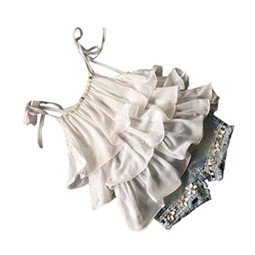 dchen Kleidung Set,Sommer Junge Outfit Set Ärmellos Chiffon Weste Tanktops T-Shirt Rüschen Tops Hemd+ Kurze Jeans Quaste Hose Bekleidungssets Girl Tägliche Kleidung (130, Weiß) (Top Girl Kostüme)