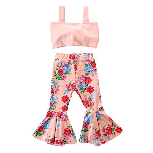SCFEL Kleine Mädchen Kleidung Baby Mädchen Strap Crop Top + Floral Bell-Bottom Flare Hosen Sommer Outfits Set (Stil B, 3-4 Jahre)