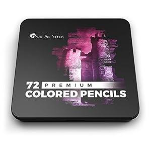 41UTj134KCL. SS300  - Juego-de-72-lpices-de-colores-Castle-Art-Supplies-para-libros-de-colorear-o-tiles-escolares-serie-suave-prmium-con-minas-de-brillantes-colores