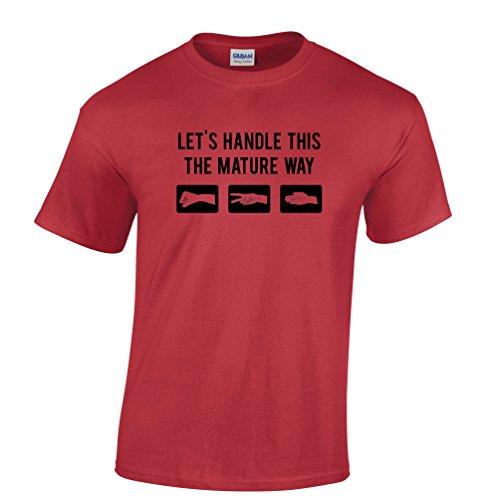 Paper Rock Scissors Reife Entscheidung Erwachsensein Herren T-Shirt Red
