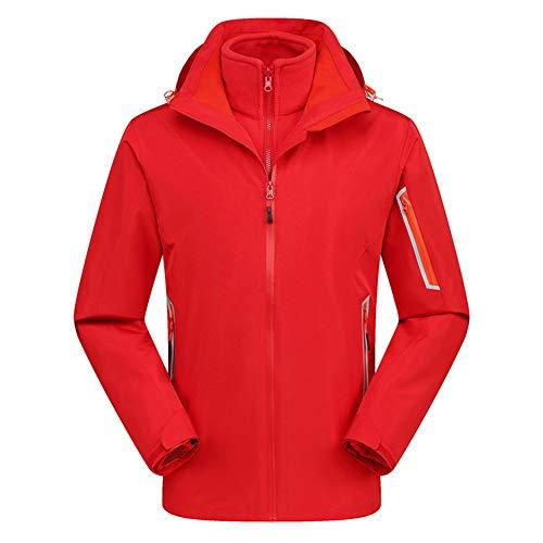 Giow Herren Women es Mountain Outdoor Jacket 3-in-1 abnehmbare mittlere, atmungsaktive Plus Samtdickicht Windproof Insulated Ski Suit,Men'sRed,L Mens Insulated Overalls
