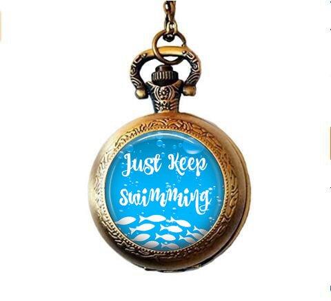 b2b Just Keep Schwimmen–inspirierendes Zitat Taschenuhr Halskette Just Keep Schwimmen–inspirierendes Zitat Taschenuhr ()