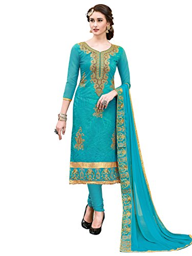 Kanchnar Women's Chanderi Blue Embroidery Semi-stitched Dress material
