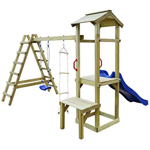 Festnight Spielturm mit Rutsche Leitern Schaukel | Garten Kletterturm | Spielplatz | Klettergerüst | Spielgerät | Grün Imprägniertes Kiefernholz 286×228×218 cm