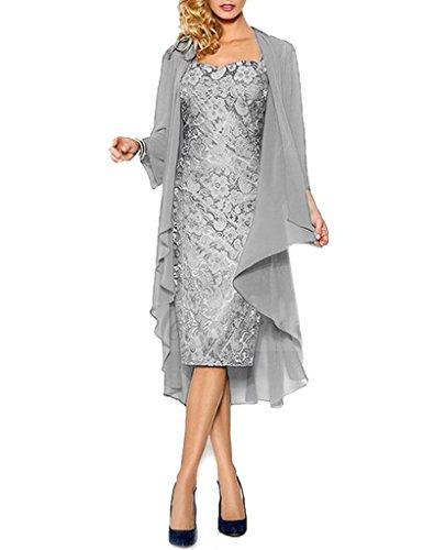 HWAN Spitze Mutter der Braut Kleider Kurze formale Kleider mit Chiffon Jacke Wraps Silber (Wrap Formale)