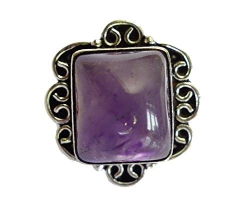 ANELLO DI MODO Sterling Silver Ring Amethyst DONNA ANELLO A MANO (Pietra Amethyst Silver Ring)