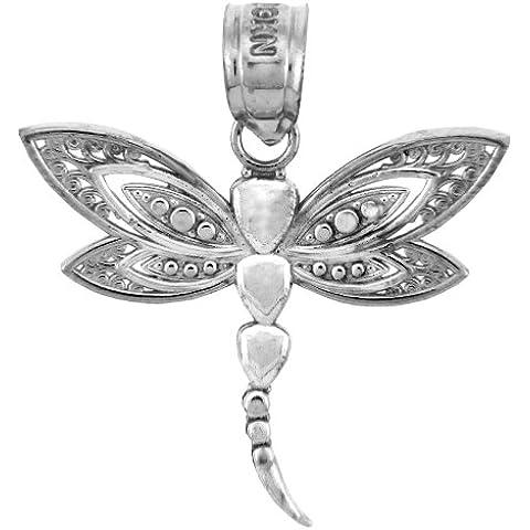 Piccoli Tesori - Pendente - 14 ct Charms 585/1000 Oro Bianco - La Libellule Pendente en Oro blanc