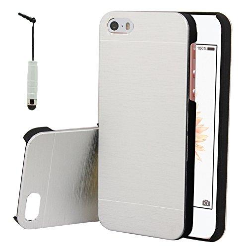 VComp-Shop® Aluminium Handy Schutzhülle für Apple iPhone 5/ 5S/ SE - Silber Silber + Mini Eingabestift