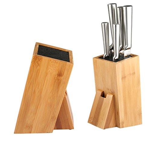 SHINY HOME® Universal Messerblock Messerhalter Borsteneinsatz herausnehmbar Messeraufbewahrung ohne Messer Bambus mit Borsteinsatz schwarz - 4