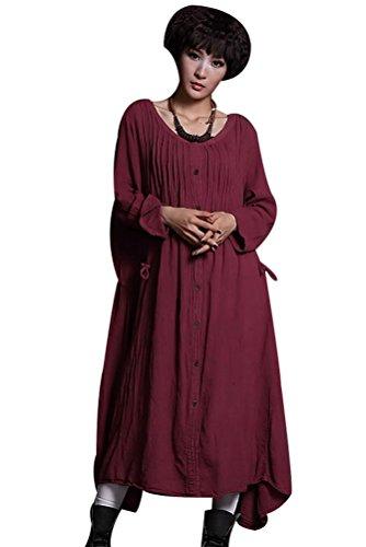 MatchLife Damen New Drawstring Langarm Kleider Claret