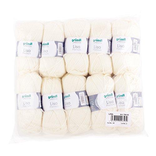 100% Wolle (Gründl 760-02 Lauflänge pro Knäuel, Lisa Uni, 50 g, 10-er Pack, 133 m, Creme)