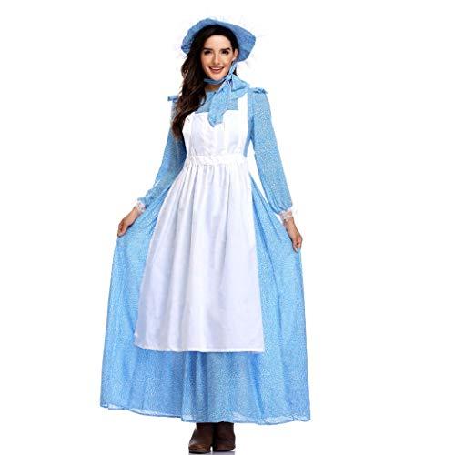 TINGSHOP Mädchen-Kostüm, Blau Schönheit Und Das Tier Belle Kleid Anime Cosplay-Kostüm-Abend Halloween-Mädchen-Kleid Schürze Für Frauen Kopfbedeckung Maskerade,Blue,XL