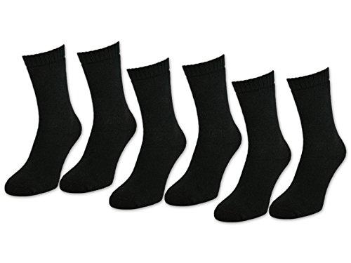 sockenkauf24 6 | 12 | 24 Paar THERMO Socken Damen & Herren Vollfrottee Schwarz Baumwolle mit Komfortbund (43-46, 6 Paar | Schwarz)