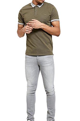 Threadbare Herren Blusen Poloshirt, Einfarbig grün grün Khaki - Green
