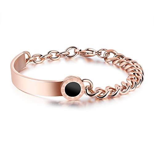 GNXIA Home Schöne Armbänder Damenmode Kreative Römische Ziffer Schwarz Runder Ring Titan Stahl Persönlichkeit Armband (Rosy Golden) - Schwarze Römische Farbtöne