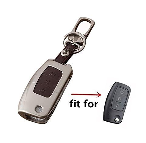 Happyit Zink-Legierung + Leder-Auto-Schlüsselabdeckungs-Fall für Ford intelligent / faltender Fokus Mondeo-Rand Fiesta Kuga Mondeo MK4 Fiesta-Fusion Eskort-Ecosport-Auto-Schlüssel (C Braun)
