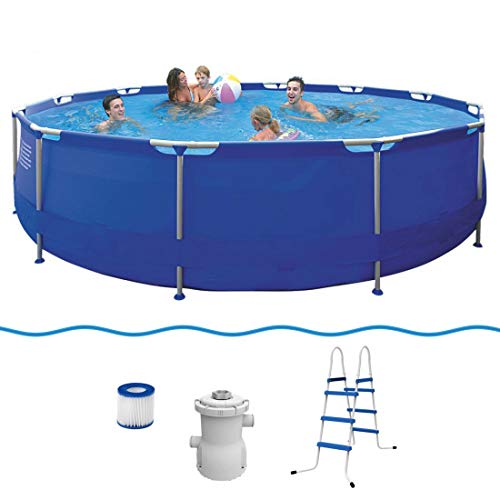 Jilong Sirocco Set Blue 420 – Cadre en acier Bac Diamètre 420 x 84 cm, pompe à filtre de piscine avec cartouches, échelle, bâche de sol et de, Bleu, 9495 L, 17542de