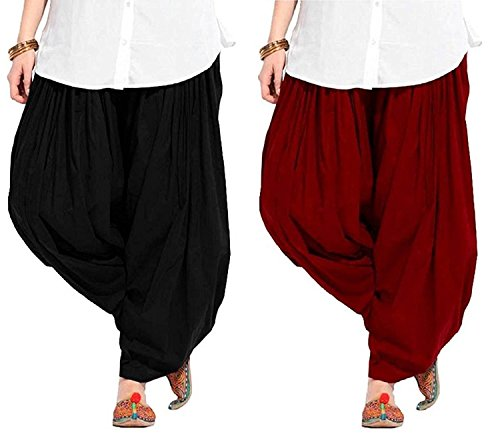 Black macy Women\'s Soft Cotton Ready made Patiala Bottom Salwar Combo Pack Of 2 (Black, Maroon_Free Size)