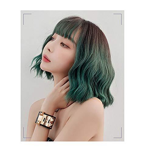 JHHXW Perücke Mode Farbverlauf Polaris Grün Realistisch Mais Heiß Kurzes lockiges Haar Koreanische Version Hochtemperaturseide Nicht zu färben Weiblich,Peacockgreengradient -