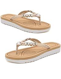 145f881037350 Elegant Ladies Flat Heel Sandals Beaded Shining Rhinestone Slippers Summer Flip  Flops Fashion and Casual Beach