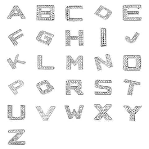 MagiDeal 26pcs/Set Sticker Lettres Strass Cristal A-Z Autocollant Métallique Adhésive Décoration Porte Voiture Hôtel Chambre
