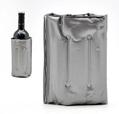 GEL FLASCHENKÜHLER 33x15cm Grau Kühlmanschette Kühlakku Weinkühler Sekt Wein 08