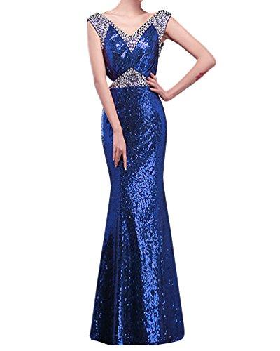 LaoZan Damen V - Ausschnitt mit Perlen verziert Pailletten Split Abendkleid Blau