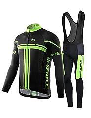 Idea Regalo - INBIKE Maglia Ciclismo, Boby Tuta Manica Lunga e Pantaloni con Bretelle Imbottiti Gel da MTB per Uomo(Bretelle,M)