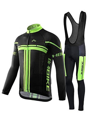 INBIKE Combinaison Vélo Maillot Manches Longues + Pantalon VTT 3D Coussin Rembourré Gel A Bretelle...