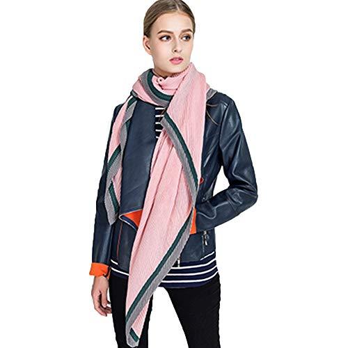 TianWlio Frauen Schals Frauen Neue Farbe Block Casual Streifen Chiffon Pashmina Schal Soft Halstuch -