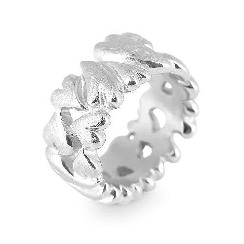 Drachenfels Luxus Damen Bandring | Kollektion My Sweetheart | Edler Herzring in Echtsilber | Design-Schmuck aus 925 Sterling Silber | Gr. 60