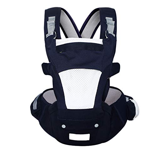 Weiche Träger Kreuzgurt Leichter Taillenhocker Kombiniert Atmungsaktives Baumwollnetz Abnehmbarer Multi-Position Babytrage (Farbe : Dunkelblau) -