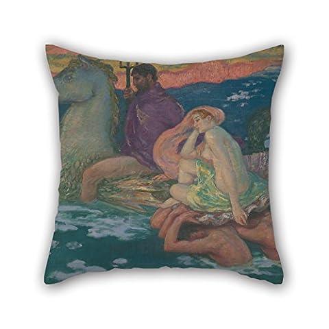 Elegancebeauty Couvre-lit Taie d'oreiller de peinture à l'huile Rupert Bunny–Poseidon et Amphitrite pour famille Mariage Bar MAISON DE Famille Theatre Père 45,7x 45,7cm/45par 45cm (chaque côté)