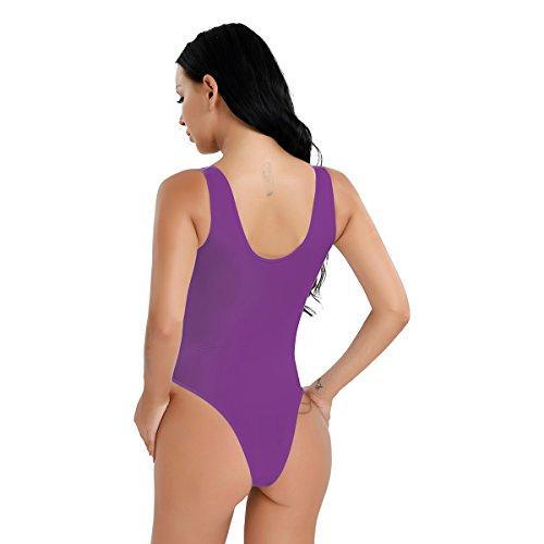 CHICTRY Damen Ärmellos Body Stringbody Hohe geschnitten Thong Leotard Lingerie transparent Unterhemd Einteiler Bodysuit - Einheitsgröße Violett