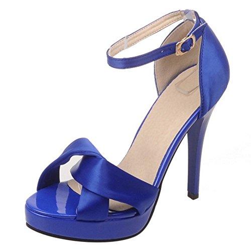 COOLCEPT Femmes Mode Cheville Sandales Orteil ouvert Talon Aiguille Chaussures Bleu