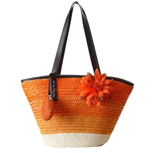 YOUJIA Damen Strandtaschen Stroh Taschen Totes Blumen Handtaschen Shopper Boho Schultertaschen (#1 Orange) -