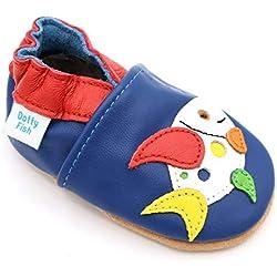 Dotty Fish - Garçons et Filles Chaussures cuir souple bébé et bambin – Poisson bleu multicolore - 18-24 Mois (Taille 23)