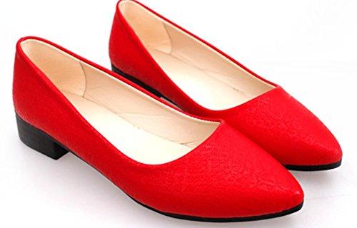 Zapatos de tacón bajo de las mujeres de YCMDM Zapatos ocasionales del ocio puro y cómodo del color Red