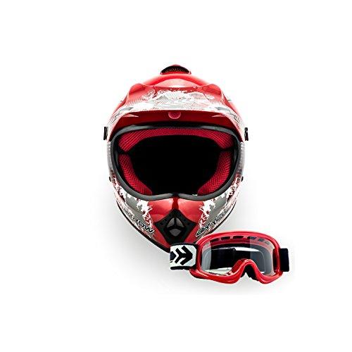 ARROW HELMETS AKC-49 SET - BRILLE + CROSSHELM - Moto-Cross-Helm Cross-Helm Kinder-Cross-Helm Helmet Sport Junior Kids Quad Pocket-Bike Enduro MX Motorrad-Helm Cross-Bike Kinder-Helm MTB , DOT zertifiziert, inkl. Stofftragetasche, ROT (XS (51-52cm))