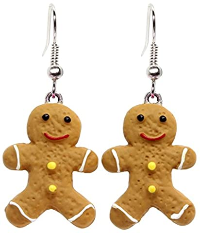 Bluebubble CHRISTMAS COOKIE Iced Gingerbread Man Dangle Earrings With FREE Gift Box