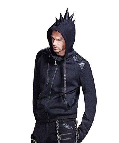 Dark Dreams Gothic Punk Rave Cyber Kapuzenjacke Jacke Hoodie Kapuze Spike M L XL XXL, Größe:XL