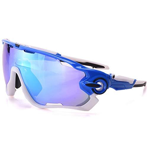 yanzi Sport-Sonnenbrille Outdoor Männer und Frauen reiten Spiegel reflektierende explosionsgeschützte DREI Stücke von polarisiertem Licht,Blue