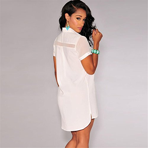 QIYUN.Z Les Femmes Solide Mode Manches Courtes Col a Revers Mini-Shirt De La Mode Sexy Robe Blanc
