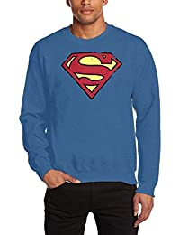 Coole-Fun-T-Shirts Herren Sweatshirt Superman Crew Neck Vintage Logo