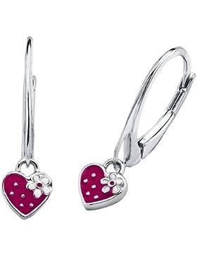 Prinzessin Lillifee Kinder-Ohrhänger Mädchen Herz Erdbeere 925 Silber emailliert pink