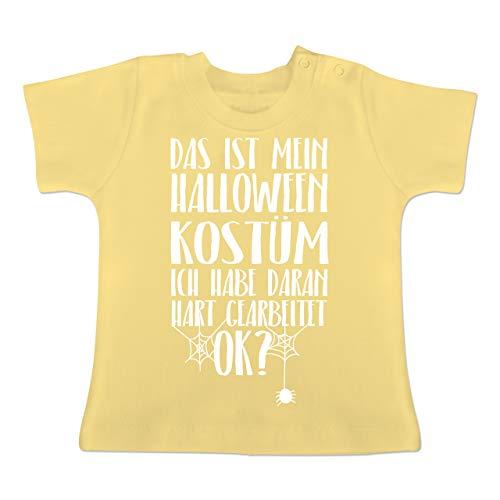 (Anlässe Baby - Das ist Mein Halloween Kostüm - 6-12 Monate - Hellgelb - BZ02 - Baby T-Shirt Kurzarm)