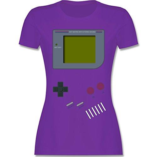 Nerds & Geeks - Gameboy Shirt - tailliertes Premium T-Shirt mit Rundhalsausschnitt für Damen Lila