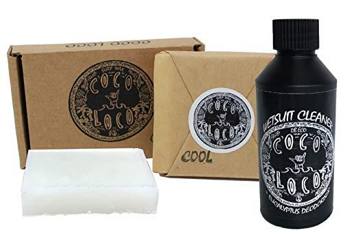 Dirtbusters Coco Loco Neoprenanzug Reiniger Shampoo mit Eukalyptus Geruchsentferner 250ml und Surf Wax Cool 75g -